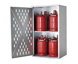 Gepeforeerde enkelwandige opstelkasten voor gasflessen, 4 x 33 kg of 10 x 11 kg