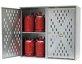 Geperforeerde enkelwandige opstelkasten voor gasflessen, 9 x 33 kg of 20 x 11 kg