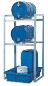 Aftapstelling verzinkt staal voor 2 vaten à 60 liter met PE lekbak, zonder rooster