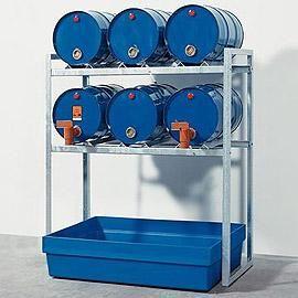 Aftapstation van verzinkt staal voor 6 vaten à 60 liter met PE lekbak zonder rooster