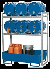 Aftapstation van verzinkt staal voor 6 vaten à 60 liter met stalen gelakte lekbak zonder rooster