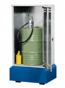 Vatenopslagdepot verzinkt, met natuurlijke ventilatie voor 1 vat à 200 liter