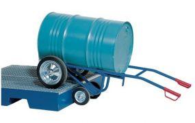Vatenkar poedercoating voor het op een opvangbak plaatsen voor vaten van 200 liter met massieve banden