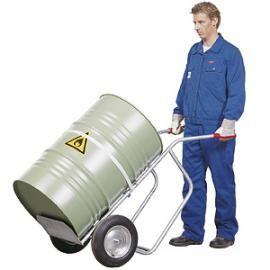 Vatenwagen met voetplaat en spanband geschikt voor 60 tot 200ltr vat op luchtbanden
