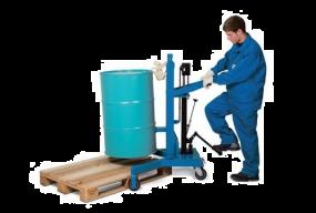 Vatenlifter voor stalen 200 ltr vaten, met automatische vatenklem, hefbereik 500 mm, laag model