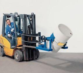 Heftruck vatendraaitang met gemakkelijke kettingbediening, voor 60 - 200 ltr vat