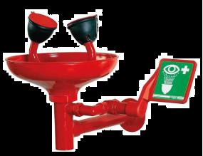 Nood oogdouche / gelaatsdouche met opvangschaal voor wandmontage