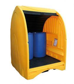 Kunststof opslagdepot met roldeur - 4 x 200 ltr vat