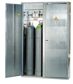 Enkelwandige verzinkte opstelkast voor gasflessen, enkele deur 2 x 50 ltr