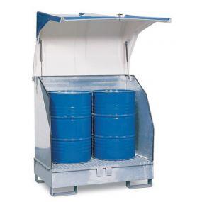 Opslagdepot van verzinkt staal met kunststof kap voor 2 vaten à 200 liter