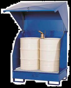 Opslagdepot van gelakt staal met stalen kap voor 2 vaten à 200 liter